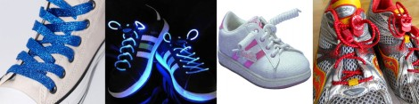 From left to right: glitter laces, glow-in-the-dark laces, curly laces, lock up laces.